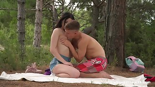 Sex in the forest be advisable for a shy looking Russian teen