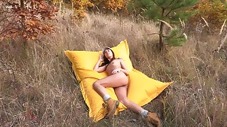 Stunning Sabrisse sheds say no to clothes and rubs twosome broadly in the great outdoors