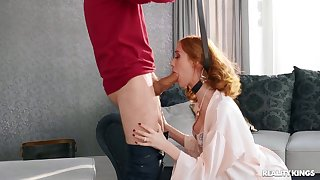 Redhead gets constant fucked after being choked and spanked