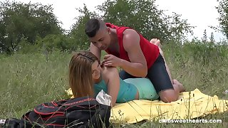 Deep penetration open-air romance for this virgin 18 teen