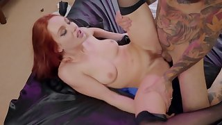 Tattooed man is unlucky enough roughly have sex ginger girl nearly stockings