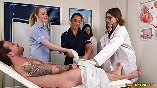 Patient gets his dick sucked away from naughty Hannah Shaw & Mikaela Forrester