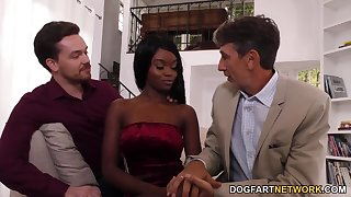 Writer and sprog fianc� skinny ebony chick Anna Fox in indiscretion and pussy