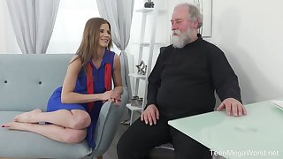 Lusty Czech mademoiselle Sarah Kay lures bearded old sponger for steamy sex