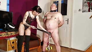 Goth domina racking CBT & bellypunch the brush fat slave pt1 HD