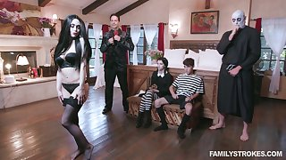 Nice teen Kate Bloom is fucked off out of one's mind several dudes from Addams Family